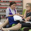 Sharon Stone at nail salon in Los Angeles