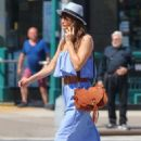 Helena Christensen in Blue Dress out in New York - 454 x 681
