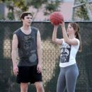 Jennifer Lawrence and boyfriend Nicholas Hoult were spotted playing basketball in Los Angeles on Sunday, January 29
