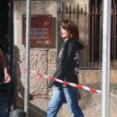 Milla Jovovich – Arriving on set of their new film in Barcelona - 454 x 702