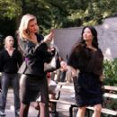 "Lucy Liu and Bonnie Somerville on Location for ""Cashmere Mafia"" in New York City"