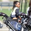 Christina Milian  Golf Course in Studio City filming her reality show Christina Milian Turned up! January 12,2015