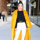 Lana Condor – In a yellow coat posing while out in NYC - 454 x 624
