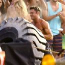 Zac Efron on location on the set of 'Baywatch' filming in Miami, Florida on March 5, 2016