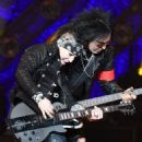 Nikki Sixx and DJ Ashba of Sixx:A.M. perform at The Joint inside the Hard Rock Hotel & Casino on April 10, 2015 in Las Vegas, Nevada - 454 x 570
