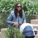 Irina Shayk in Jeans Shorts out in Pacific Palisades - 454 x 303