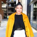 Lana Condor – In a yellow coat posing while out in NYC - 454 x 534