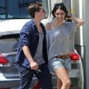Josh Hutcherson and his new girlfriend Claudia Traisac go for a motorcycle ride to Mendocio Farm in Los Angeles, California on June 22, 2013