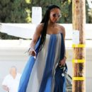 Melanie Brown – Wearing a white and blue summer dress in Los Angeles - 454 x 657