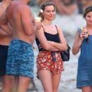 Margot Robbie in Bikini Bottoms on the beach in Costa Rica