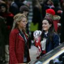 Leighton Meester, filming with Blake Lively on the set of Gossip Girl, NY 2007-11-07