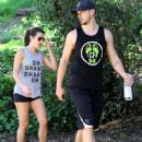 Lea Michele: out for a hike with a friend at the TreePeople Park in Studio City