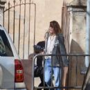 Milla Jovovich – Arriving on set of their new film in Barcelona - 454 x 638