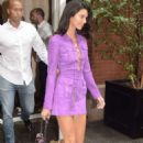 Kendall Jenner in Purple Mini Dress – Leaves her hotel in NYC