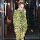 Rita Ora in Neon Green Leopard Print – Night out in NYC