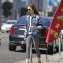 Lily Collins feeding the parking meter in Beverly Hills - 454 x 524