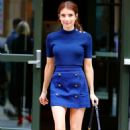 Emma Roberts in royal blue outfit out in New York - 454 x 742