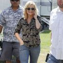 Amy Poehler on the set of Parks & Recreation