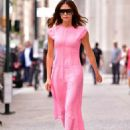 Victoria Beckham in Pink Dress – Out and about in New York City