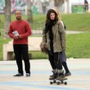 Shenae Grimes Showing Off Her Skateboarding Skils On The Set Of 'Sugar' In Venice