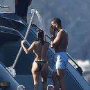 Kourtney Kardashian in Bikini on a yacht in Portofino