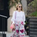Dianna Agron in long floral skirt out in Soho - 454 x 635