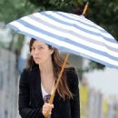 Jessica Biel braving the rain in NYC (August 28)