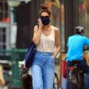 Katie Holmes – In denim and a peach tee shirt in New York