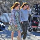 "Kristen Stewart and Julianne Moore on the set of ""Still Alice"" (March 21, 2014)"
