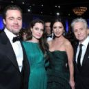 Brad Pitt, Angelina Jolie, Catherine Zeta-Jones and Michael Douglas At The 68th Annual Golden Globe Awards, January 16, 2011 - 454 x 288