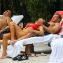 Roxanne Pallett and boyfriend Jason Carrion were seen at a pool party in Manhattan - 454 x 303