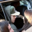 Justin Bieber — Talking to fans outside of his car in Los Angeles — July 28, 2014