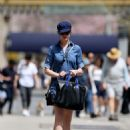 Anne Hathaway In Blue Mini Dress Out In Nyc