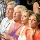 Jennifer Dooley sits with Hatton's father, mother and his brother's girlfriend as they watch Ricky in the ring. - 454 x 328