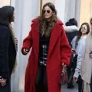 Izabel Goulart in Long Red Coat Out in Milan - 454 x 681
