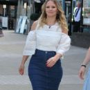 Kimberley Walsh in Jeans Skirt at ITV Studios in London - 454 x 760