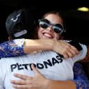 Just friends? Lewis Hamilton got close to Barbara Palvin again as they shared a lingering embrace after the British F1 driver romped to victory in the Hungarian Grand Prix on Sunday