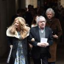 Bill Wyman and Suzanne Wyman leave after the wedding of Jerry Hall to Rupert Murdoch at St Brides Church, Fleet Street, on March 5, 2016 in London, England. - 381 x 600