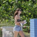 Nadejda Savcova Wearing Bikini On Miami Beach