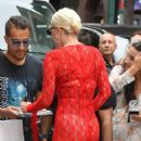 Lady Gaga in Red Mini Dress – Arriving to Electric Lady Studio in NYC