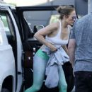 Jennifer Lopez in Sports Bra and Tights at the gym in Los Angeles