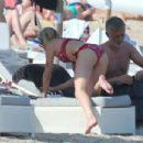 Stephanie Pratt in Red Bikini on the beach in Mykonos - 454 x 303