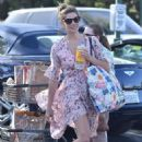 Ashley Greene in Floral Print Dress at Bristol Farms in Los Angeles - 454 x 682