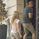 Chris Hemsworth and Elsa Pataky out with their daughter, India Hemsworth, in Madrid, Spain (July 4)