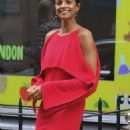 Alesha Dixon in Red Dress out in Soho - 454 x 1027