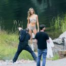Josephine Skriver Shooting a commercial for Victoria Secret's upcoming holiday catalog in Aspen - 454 x 518