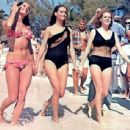 Martine Beswick, Claudine Auger, Luciana Paluzzi on break from filming Thunderball (1965) - 454 x 343