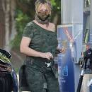 Heather Locklear in Army Print Dress During Stop at Gas Station in Thousand Oaks 12-14-2020 - 454 x 708