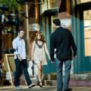 "Jennifer Lopez and Alex O'Loughlin film scenes for her upcoming film ""The Back-Up Plan"" outside a coffee shop in Pasadena. June 18, 2009"