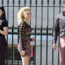 "AnnaSophia Robb and Jake Robinson get prepped to film a scene for ""The Carrie Diaries"" in New York City"